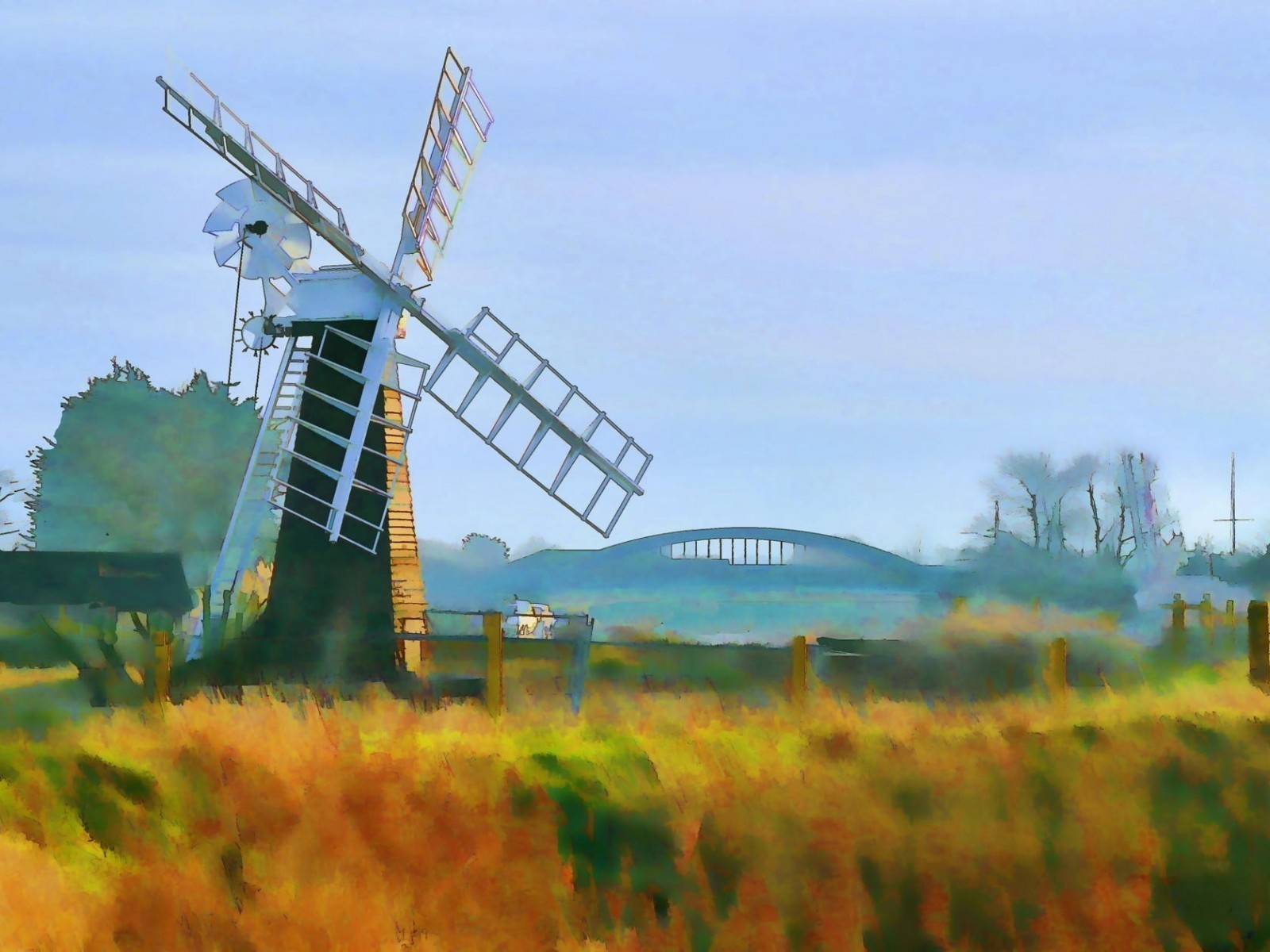 Windmill Painting for 1600 x 1200 resolution