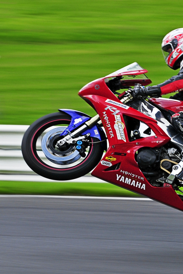 Yamaha R1 Wheelie for 640 x 960 iPhone 4 resolution